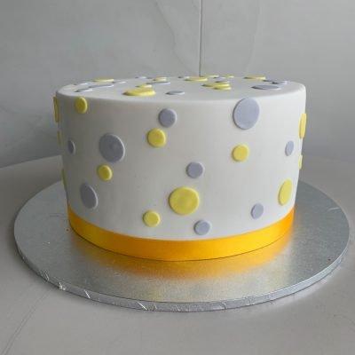 Marvelous Yellow Grey Polka Dots Nikos Cakes Funny Birthday Cards Online Necthendildamsfinfo